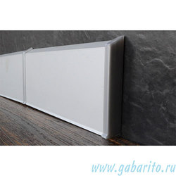 Плинтус алюминиевый  70х10х2450 мм на клипсах с анодированным покрытием цвет Серебро