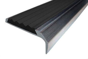 Накладка на ступени 40х21х3000 мм алюминиевая угловая противоскользящая с резиновой вставкой, цена за 1 шт.