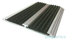 Накладка на ступени 70х5х1330 мм алюминиевая противоскользящая с 2-мя резиновыми вставками