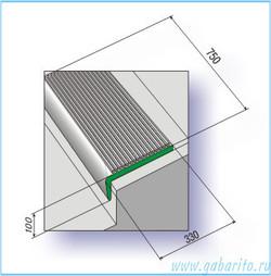 Проступь 750х330х100 мм резиновая средняя, цвет Черный