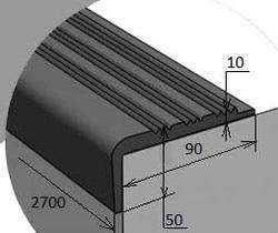 Угол 90х50х10х2700 мм противоскользящий резиновый без клеевого слоя, цвет черный, цена за 1 шт.